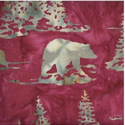 Hand-dyed Batik - Bears in Ruby - by Hoffman California Fabrics