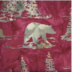 Hand-dyed Batik - Bears in Ruby - by Hoffman California Fabrics