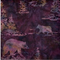 Hand-dyed Batik - Bears in Marsala - by Hoffman California Fabrics