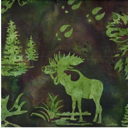 Hand-dyed Batik - Moose in Earth - by Hoffman California Fabrics