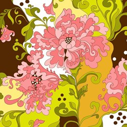 """7"""" Remnant - Isabella - Coral Large Floral Print - by Lila Tueller Designs for Riley Blake Designs"""