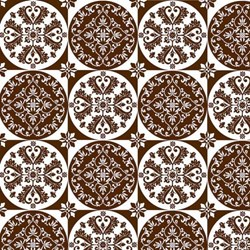"7"" Remnant Piece Isabella - Brown Floral Circle Grid - by Lila Tueller Designs for Riley Blake Designs"