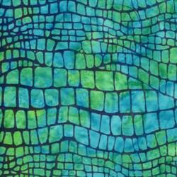 Island Batik Screen Print - Blue-Green Lizard