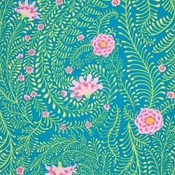"End of Bolt - 47"" - Kaffe Fasset Quilting Fabric  - Fern in Turquiose"
