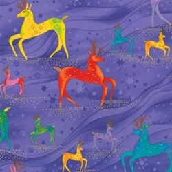 Laurel Burch Holiday Celebrations Deer in Purple by Clothworks