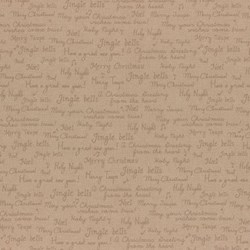 "End of Bolt - 85"" - Merry Taupe Collection - Christmas Greetings on Taupe - by Lecien"
