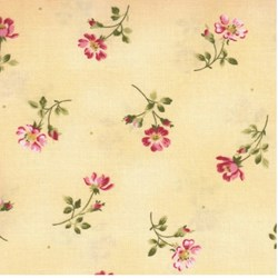 "33"" Remnant - Wild Rose Basics - Small Red Floral on Yellow - Maywood Studios"