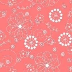 Kimberbell Basics- Doodle Flowers on Dark Peach- by Maywood Studios