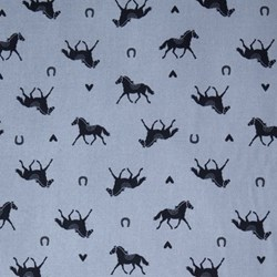 Hot to Trot - Blue Horses - by Michael Miller Fabrics