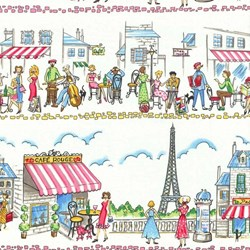 "End of Bott - 39"" - Paris Ville - Street Scene Border Print - by Michael Miller Fabrics"