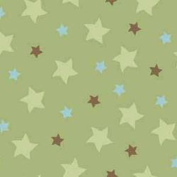 "54"" End of Bolt - Mod-Tod Stars in Green by Sheri Berry for Riley Blake Designs"