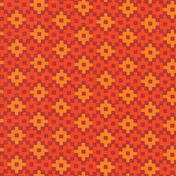 "End of Bolt - 58"" - Rhoda Ruth Collection- Flame/ Geometric Pattern by Elizabeth Hartman for Robert Kaufman"