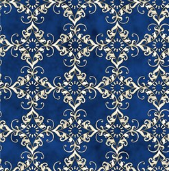 Roosters - Blue Medallion - <br>by Audrey Jeanne Roberts for In the Beginning Fabrics