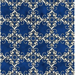 "End of Bolt - 67"" - Roosters - Blue Medallion - by Audrey Jeanne Roberts for In the Beginning Fabrics"