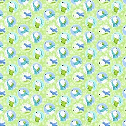 "End of Bolt - 74"" - Snow Bears - Flannel - Bears in Lime - by Deborah Edwards for Northcott"