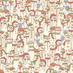 Snowbound - Cream Multi Color Snow People - by Buggy Barn for Henry Glass & Co. Inc.