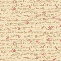 "End of Bolt - 58"" - Snowbound - Cream Tiny Words & Snowflake - by Buggy Barn for Henry Glass & Co. Inc. #8162-44"