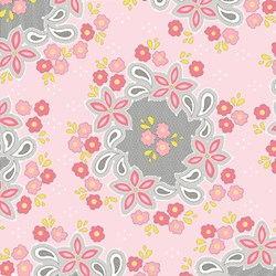 "30"" Remnant - Sweet Harmony - Flower Pattern on Pink - by Amy Hamberlin for Henry Glass & Co. Inc."