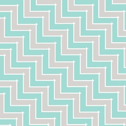 "68"" End of Bolt Piece - Sweet Harmony - Teal/Gray Chevron Pattern - by Amy Hamberlin for Henry Glass & Co. Inc."