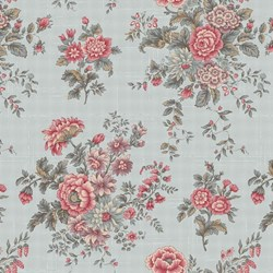 "12"" Remnant- Tour des Fleurs - Large Blue Floral - by Mary Jane Carey for Henry Glass & Co. Inc."