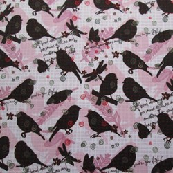 Nature's Walk Light Violet Birds and Butterflies by Leeré Aldrich for Clothworks