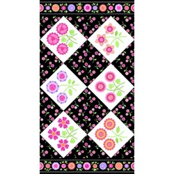 Sweet Things Floral Panel Black by Holly Holderman of LakeHouse Dry Goods Retired Fabric