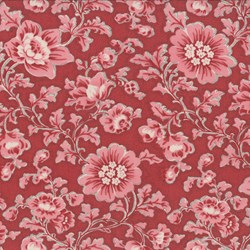 """Remnant - 14"""" - Faded Red Floral - Le Bouquet Fracais by French General for Moda"""