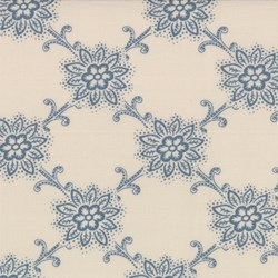 "End of Bolt - 62"" - Blue Floral Pattern on Blanche - Le Bouquet Fracais by French General for Moda"