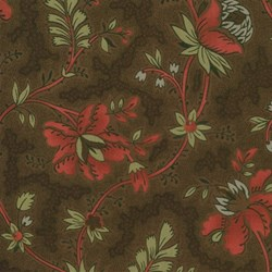 "End of Bolt - 107"" - Maison de Garance - Floral Vine on Brown - by French General for MODA"
