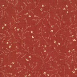 """35"""" Remnant   - Maison de Garance - Red with Cream Leaf & Vines - by French General for MODA"""