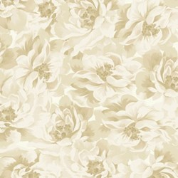 "7"" Remnant -  -Tan Floral - Burgundy & Blush - Sew Merry Collection by Maywood Studios"