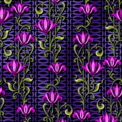 Paradise - Purple Floral Stripe - In The Beginning Fabrics