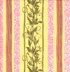 "18"" Remnant Piece Roses Quilting Fabric - Vine Stripe on Yellow"