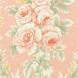 Vintage Find!  Somerset Cottage Quilting Fabric - Large Floral on Pink