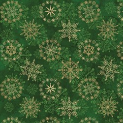 """27"""" Remnant Piece - Starry Night - Stonehenge Green Snowflakes - by Northcott"""