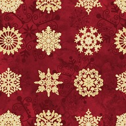 "End of Bolt - 55"" - Starry Night - Stonehenge Cranberry Metallic Snowflakes  - by Northcott"