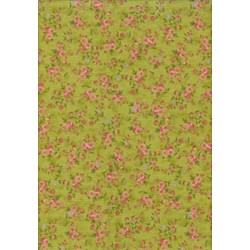 """26"""" Remnant - Vintage Find!  Sweet Romance Green with Pink Mini Flowers"""