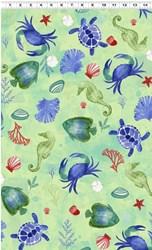 Sanibel Large Print - Mint  by Clothworks