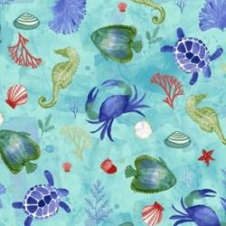 """11"""" Remnant - Sanibel Large Print - Aqua by Clothworks"""