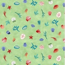 Sanibel Small Print - Light Olive  by Clothworks