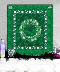 Pine Green & Twinkling Lights Christmas Wreath Wall Hanging Quilt Kit Plus Optional Swarovski Hotfix Crystal Pack