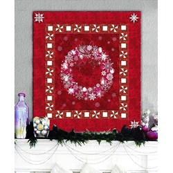 Berry Red & Twinkling Lights Christmas Wreath Wall Hanging Quilt Kit Plus Optional Swarovski Hotfix Crystal Pack