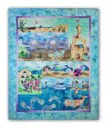More Back in Stock!  Beach Walk II Complete Quilt Kit:  Pre-Fused & Laser Cut and Includes Backing!   <br><i>Free US Shipping!</i>
