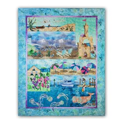 More Back in Stock!  Beach Walk II Complete Quilt Kit:  Pre-Fused & Laser Cut and Includes Backing!   Free US Shipping!