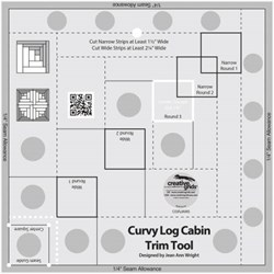 Creative Grids Curvy Log Cabin Trim Tool 8in Finished Blocks Quilt Ruler