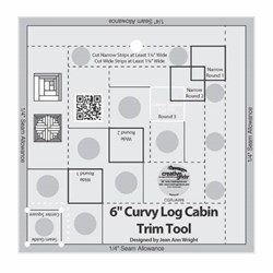 Creative Grids Curvy Log Cabin Trim Tool 6in Finished Blocks Quilt Ruler